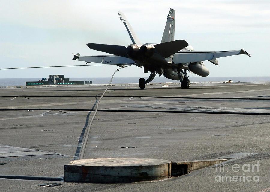 Horizontal Photograph - An Fa-18c Hornet Makes An Arrested by Stocktrek Images