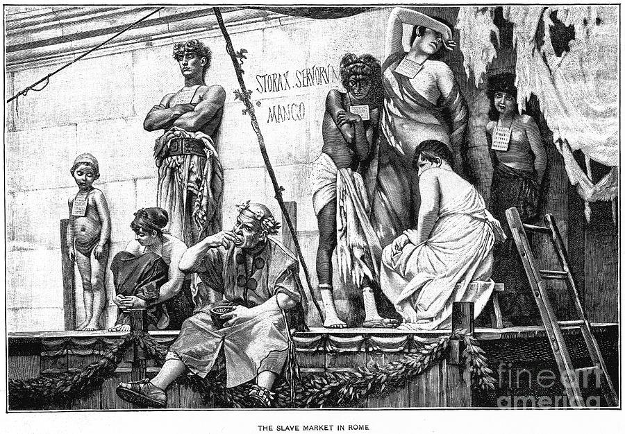 Ancient Photograph - Ancient Rome: Slave Market by Granger