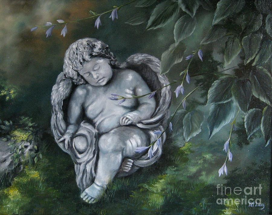Angel Painting - Angel in the Garden by Patricia Lang