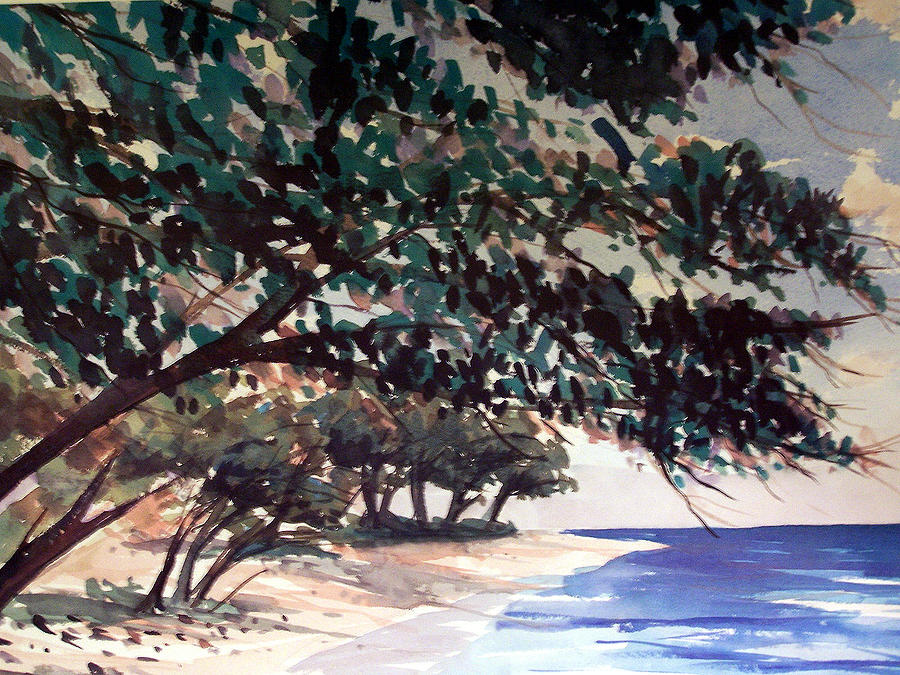 Anini Painting - Anini Beach by Jon Shepodd