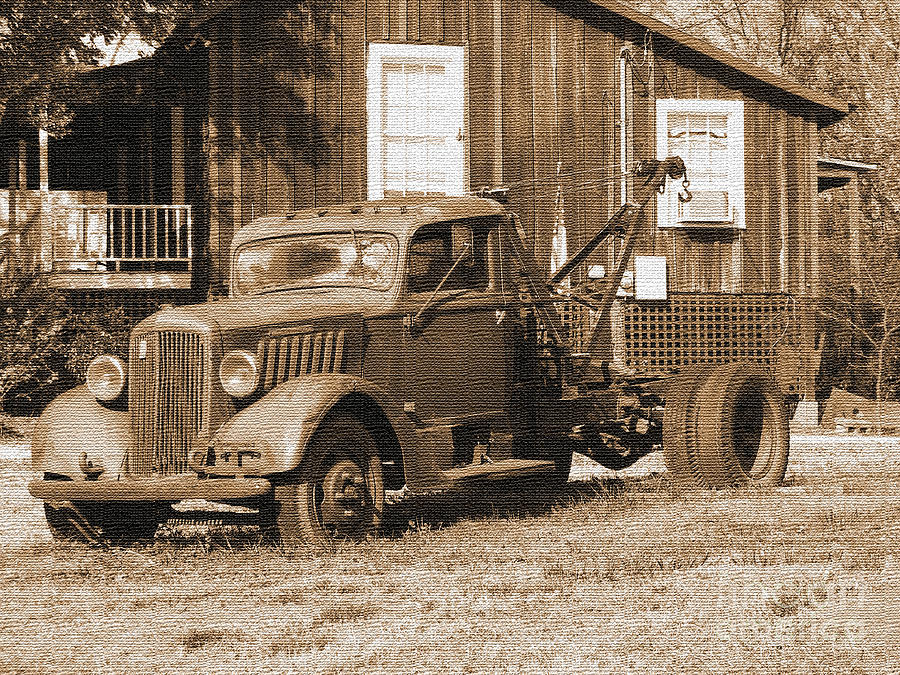 Antique Cars Photograph - Antique Tow Truck by Barbara Bowen