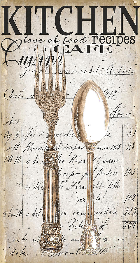Dining Painting - Antique Utensils For Kitchen And Dining In White by Grace Pullen