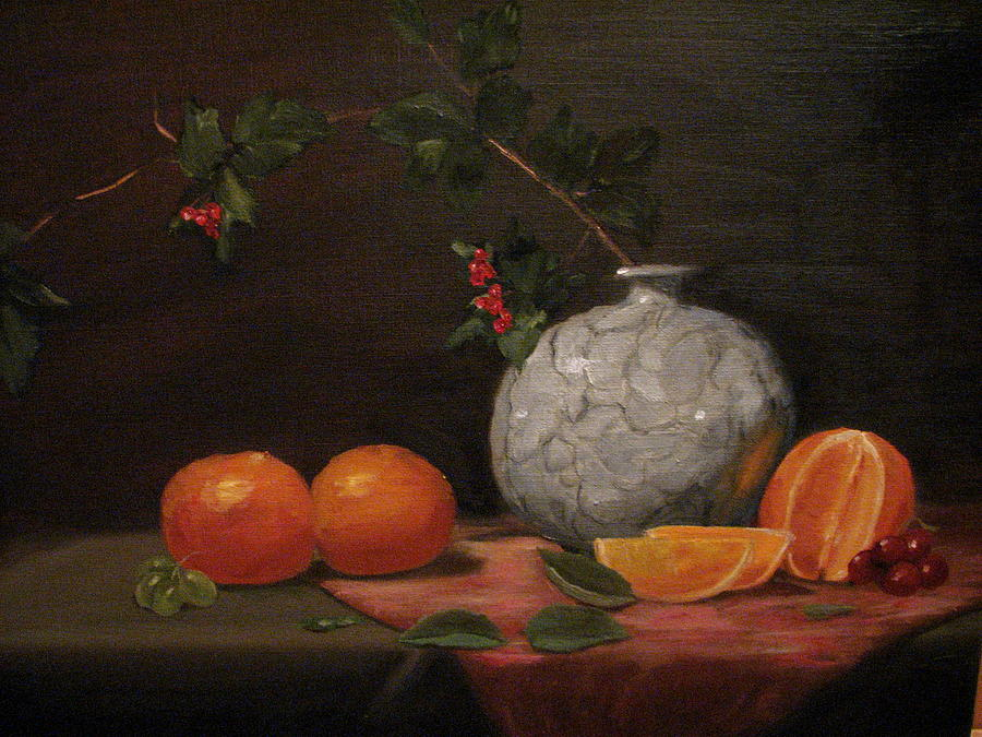 Still Life Painting - Asian Vase With Oranges by Iris Nazario Dziadul