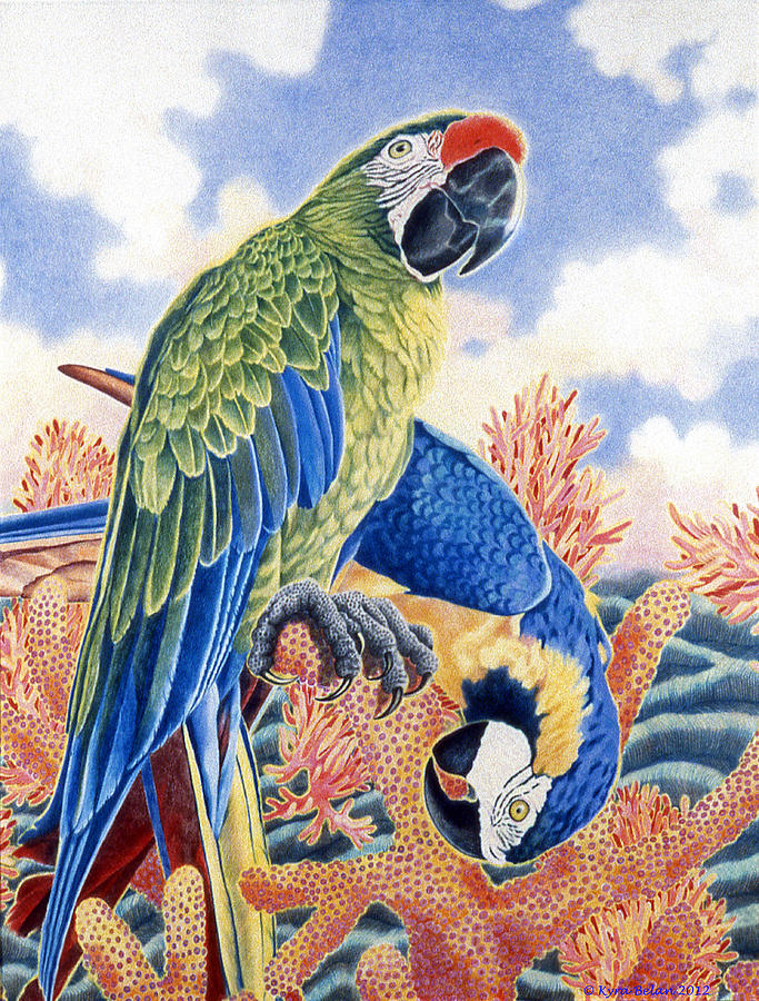 Green And Blue With Blue And Orange Parrots Surrounded By A Surreal Environment Of Sea Corals Drawing - Astartes Paradise II by Kyra Belan