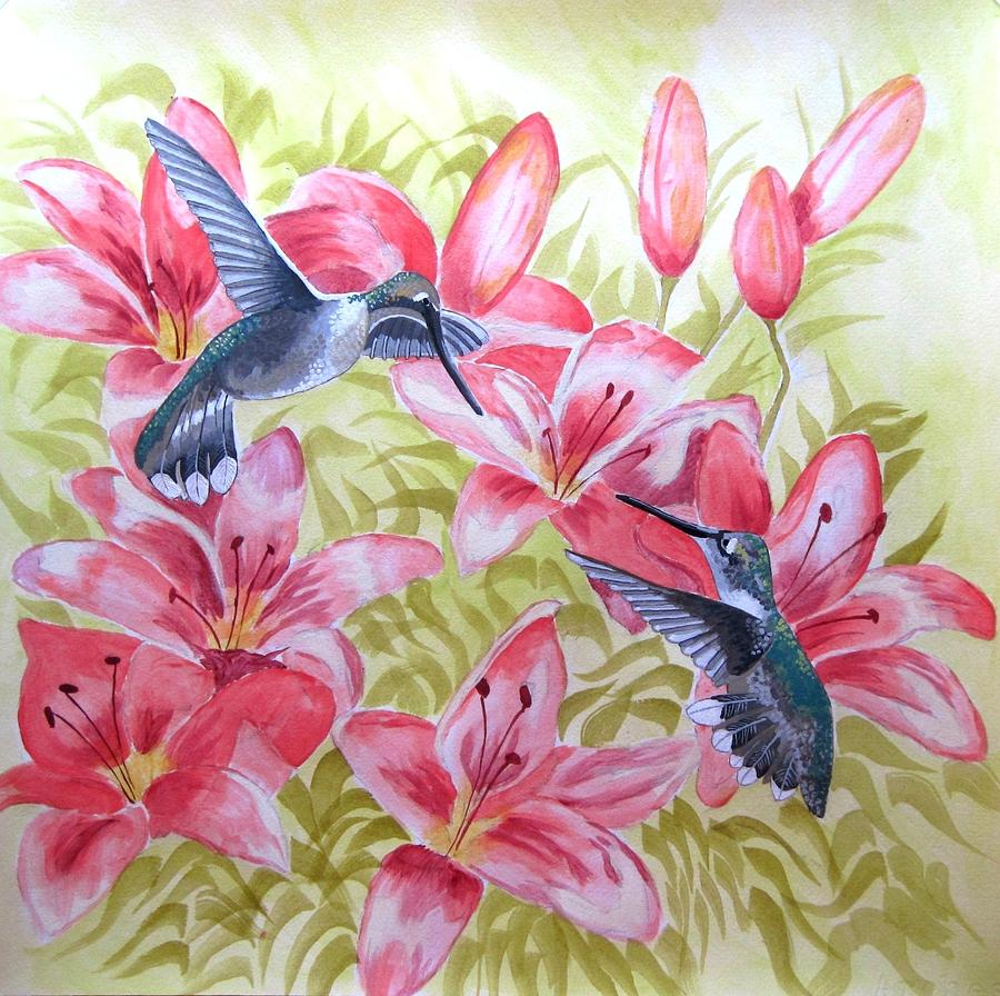 Hummingbirds Painting - At Play by Jennifer  Donald