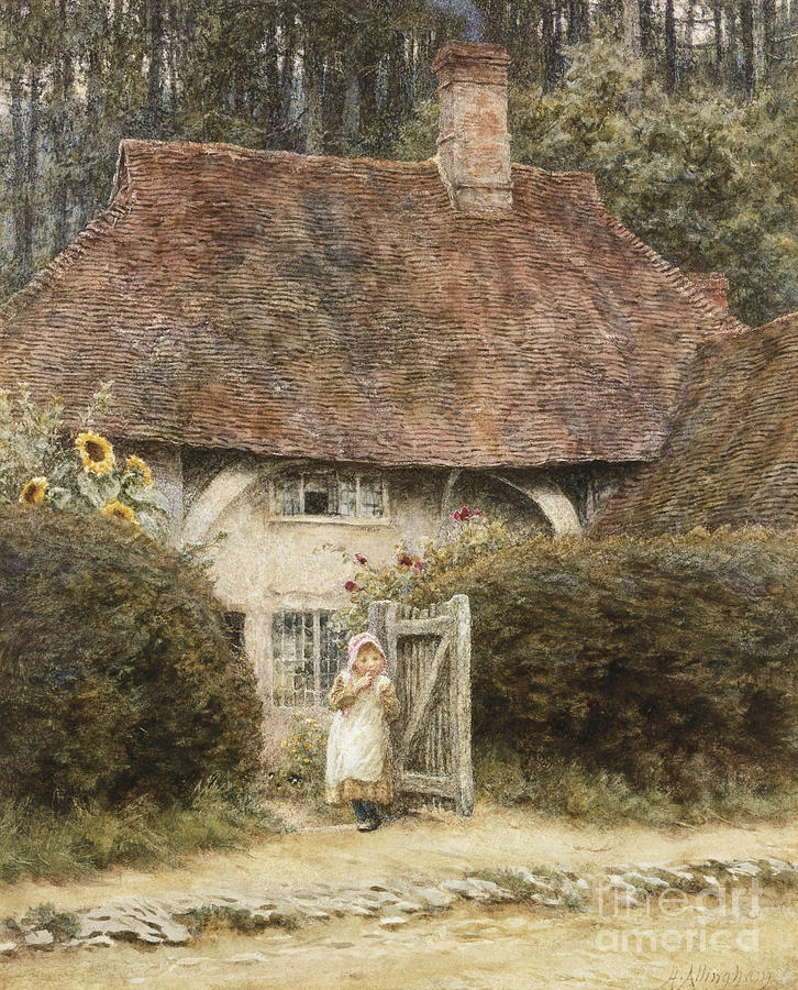Allingham Painting - At The Cottage Gate by Helen Allingham