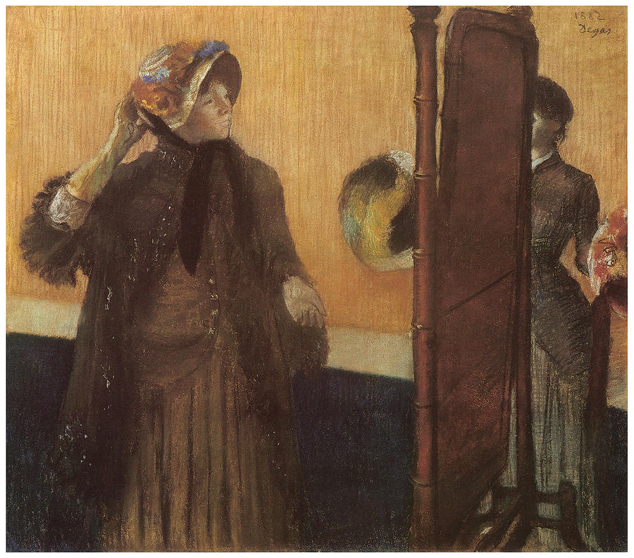 Hat Shop Pastel - At The Milliners by Edgar Degas