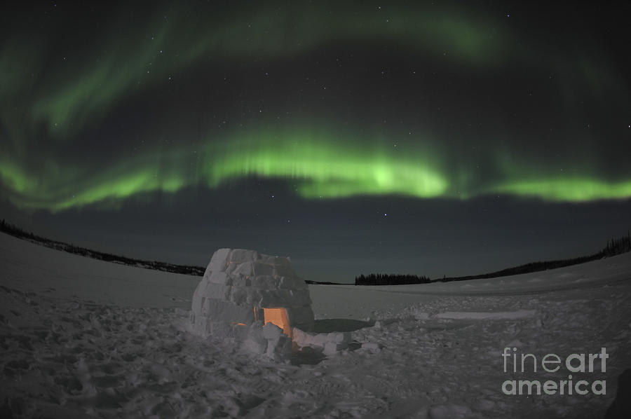 Yellowknife Photograph - Aurora Borealis Over An Igloo On Walsh by Jiri Hermann