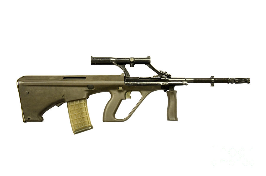 No People Photograph - Austrian 5.56mm Steyr Aug Assault Rifle by Andrew Chittock