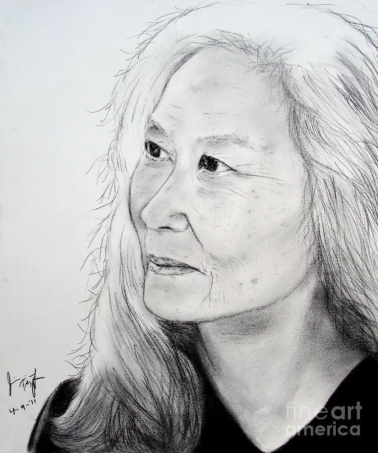 Maxine Hong Kingston Drawing - Author And Activist Maxine Hong Kingston by Jim Fitzpatrick