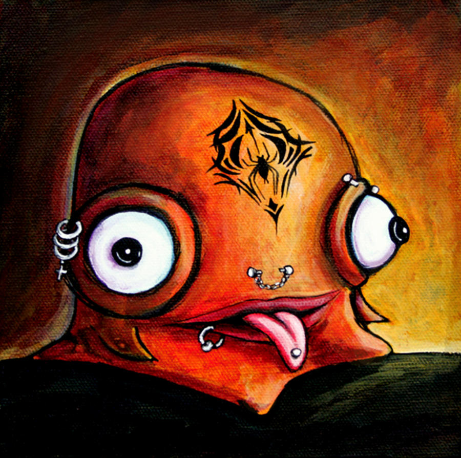 Little Monster Painting - Bad Boy Glob by Leanne Wilkes