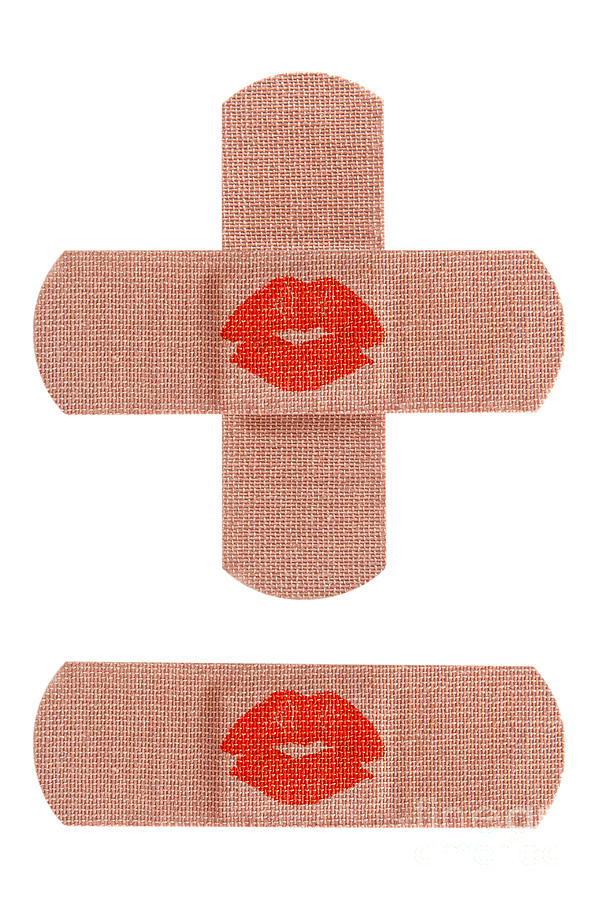 Bandaid Photograph - Bandages With Kiss by Blink Images