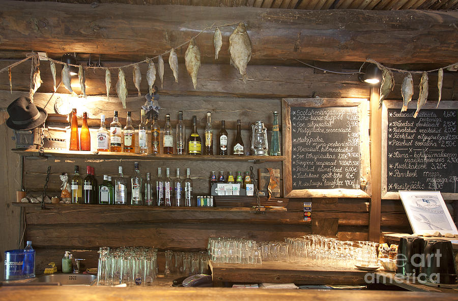 Restaurant Bar Wall Decor : Bar with a rustic decor photograph by jaak nilson