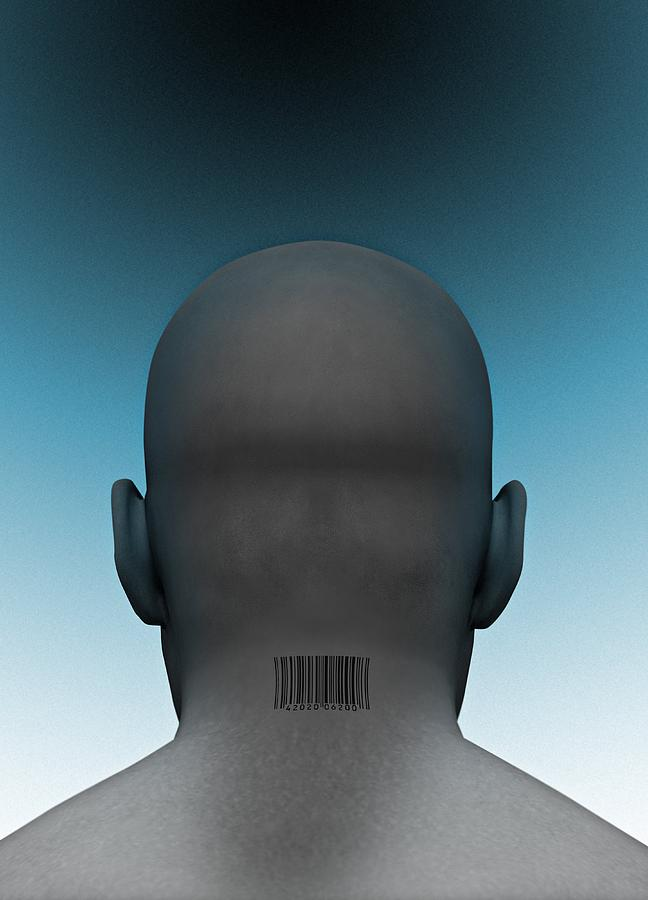 Digitally Generated Image Photograph - Barcoded Man, Artwork by Victor Habbick Visions