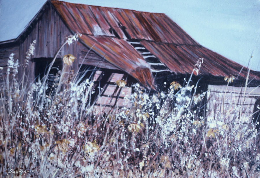 Rustic Painting - Barn in Sunlight by Ben Kiger