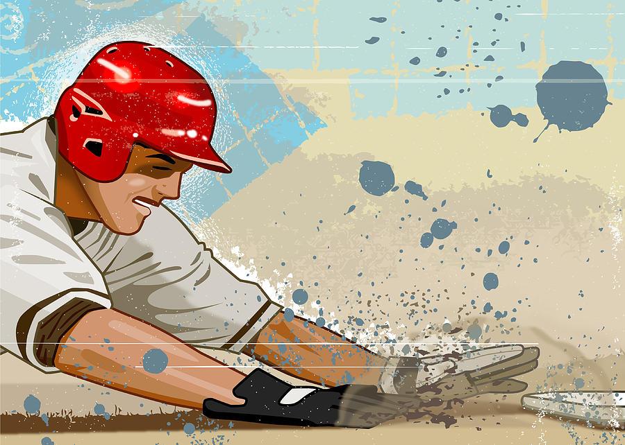 Adult Digital Art - Baseball Player Sliding Into Base by Greg Paprocki