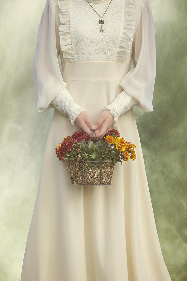 Chrysanthemum Photograph - Basket With Flowers by Joana Kruse
