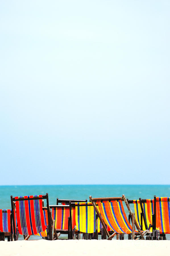 Azure Photograph - Beach Chairs Colorful by Panupong Roopyai