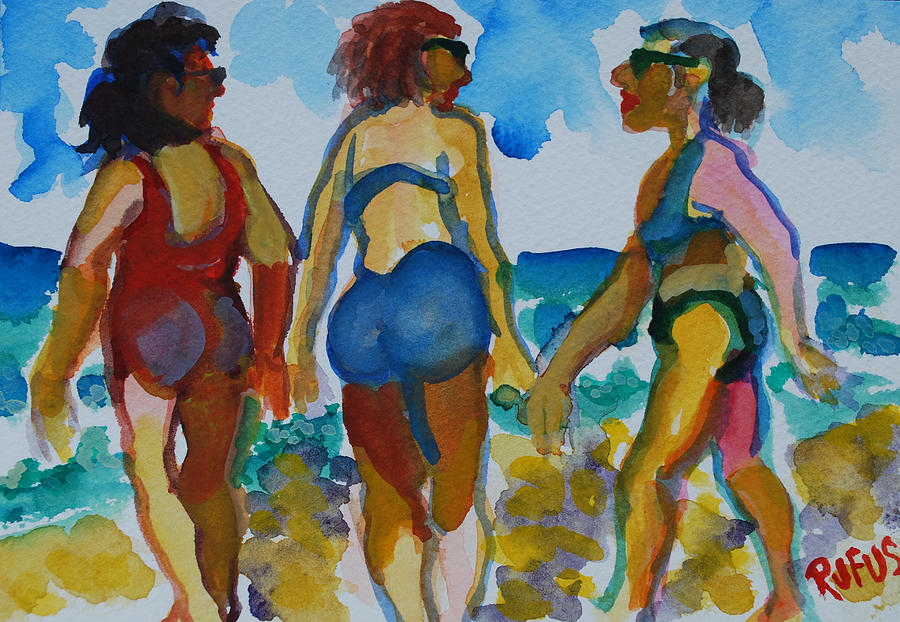Women Painting - Beach Trio 1 by Rufus Norman