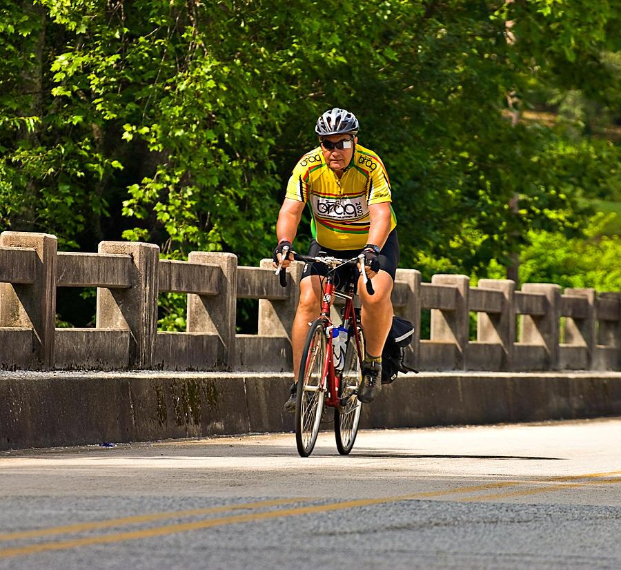 Across Annual Area Bicycle Bike Brag Clayton Cycle Enjoyment Exercise Fun Hard Healthy Highway Leisure Man  Participate Pleasure Recreation Rider Road Smiling Sport Street Trek Photograph - Bike Ride Across Georgia by Susan Leggett