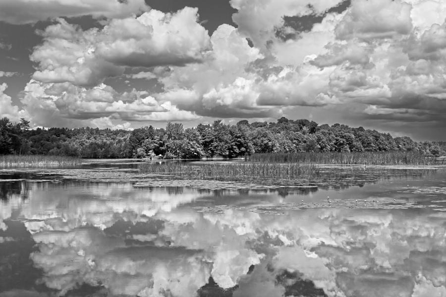 Black And White Storm Clouds Cobbossee Lake Maine Fine Art Print Photograph