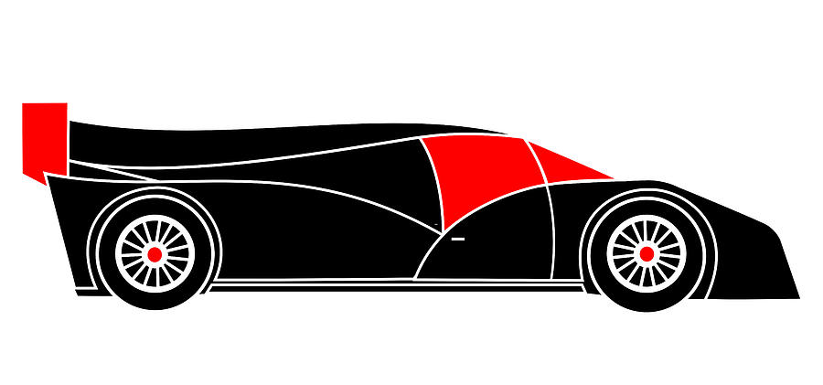 Audi R18 Digital Art - Black Rocket Racing Car Virtual Car by Asbjorn Lonvig