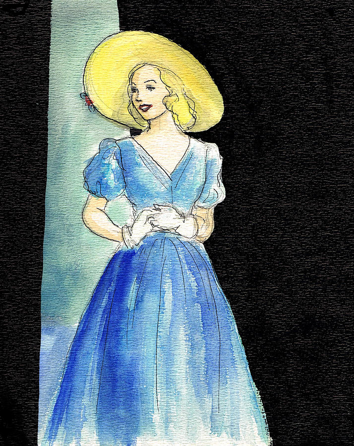 Nostalgia Drawing - Blue Gown by Mel Thompson