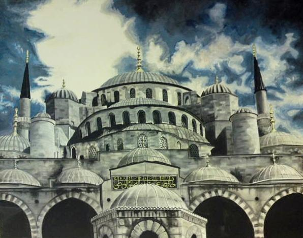 Istanbul Painting - Blue Mosque Istanbul by Salwa  Najm