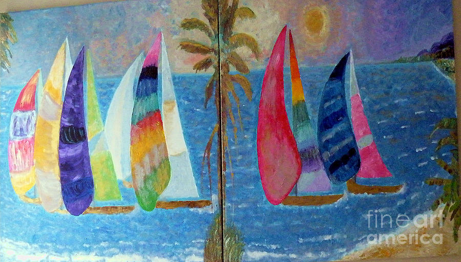 Boats Painting - Boats At Sunset by Vicky Tarcau