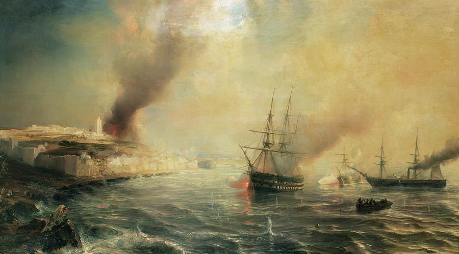 Bombardment Of Sale Painting - Bombardment Of Sale by Jean Antoine Theodore Gudin