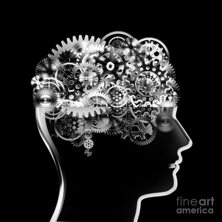 Background Photograph - Brain Design By Cogs And Gears by Setsiri Silapasuwanchai