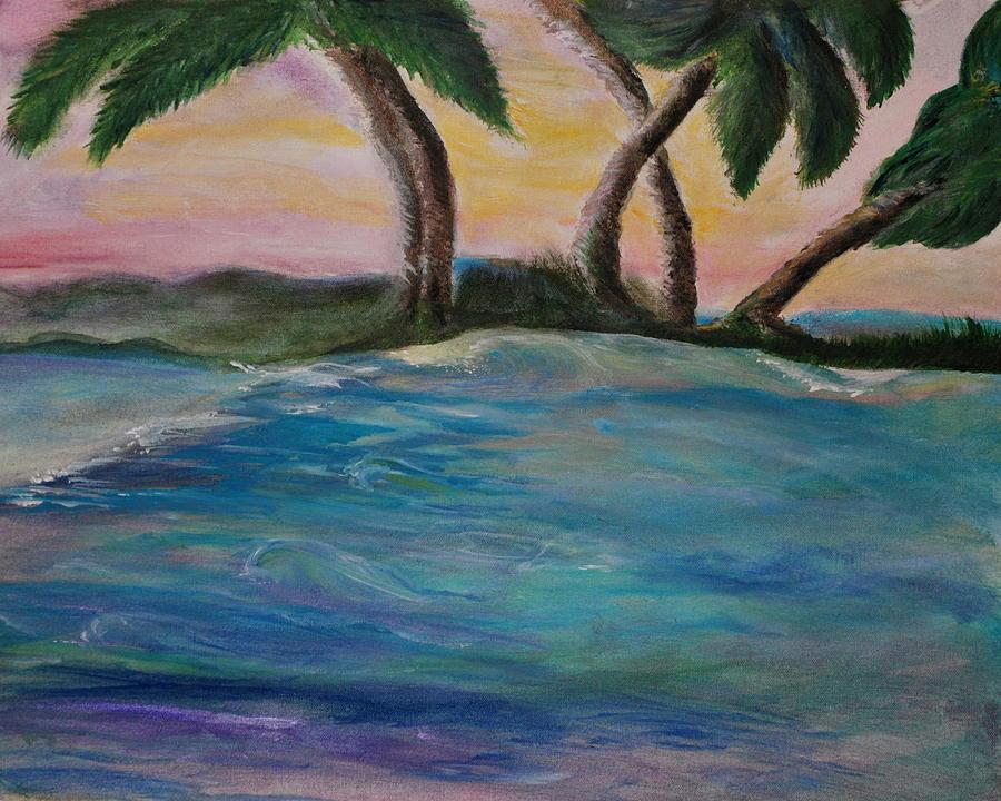 Palm Trees Painting - Breathing Sunset by Tifanee  Petaja