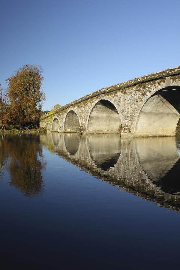 Blue Sky Photograph - Bridge Over River Nore Bennettsbridge by Trish Punch
