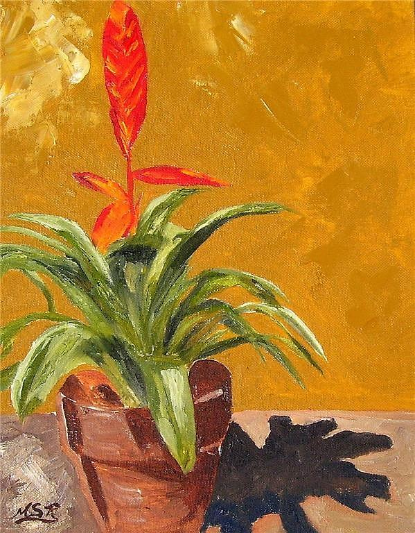 Bromeliad Vriesea Painting - Bromeliad Vriesea by Maria Soto Robbins