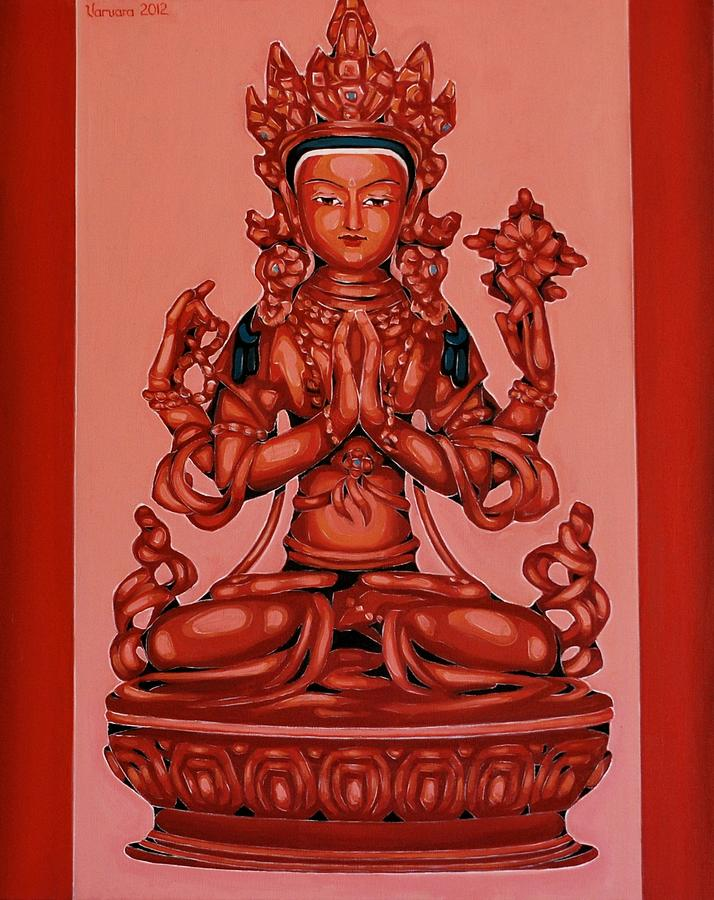 Buddha Of Compassion Painting by Varvara Stylidou