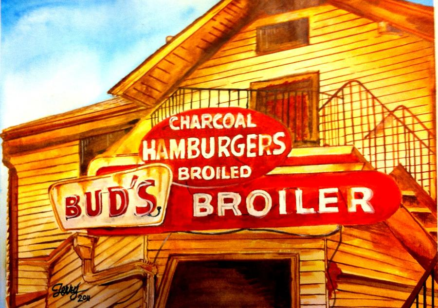 Bud's Broiler Painting - Buds Broiler by Terry J Marks Sr