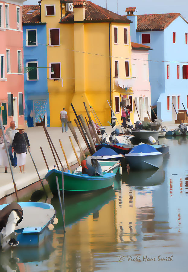 Burano Canal Scene by VICKI HONE SMITH