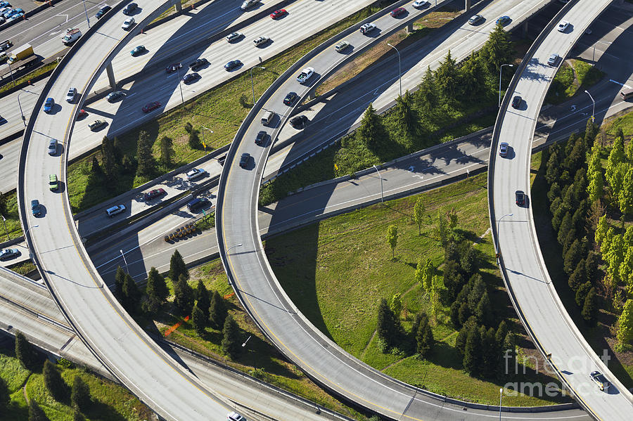 Aerial Photograph - Busy Freeway Interchange by Don Mason