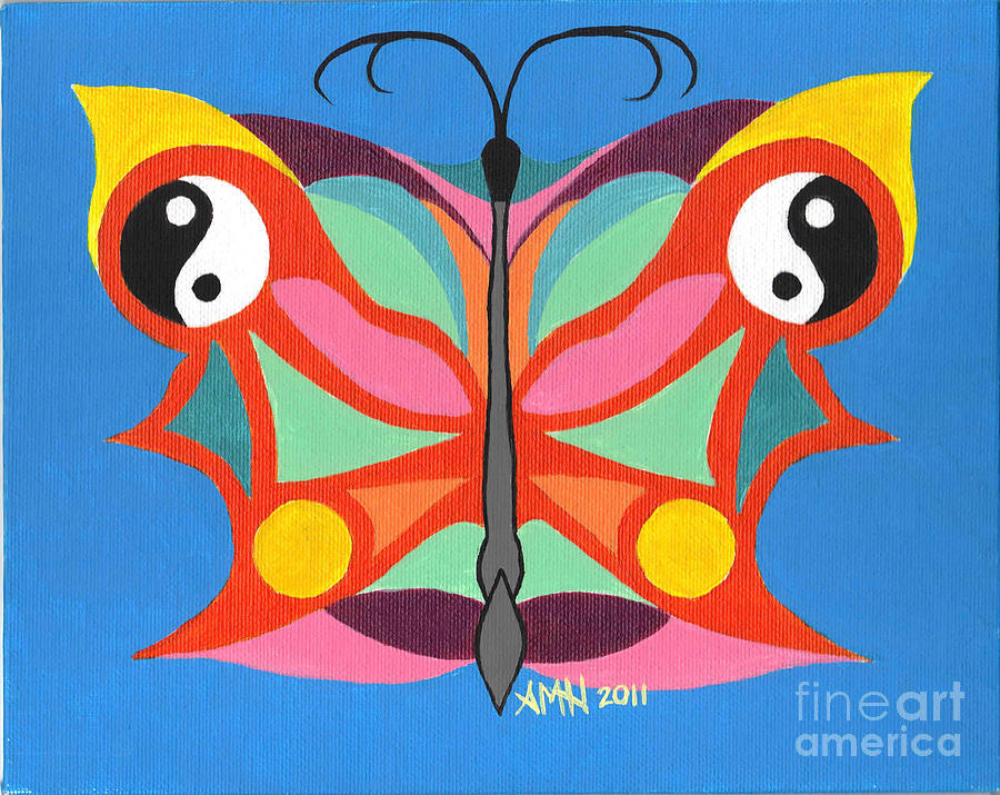 Acrylic Painting - Butterfly Twin2 by Angela Q