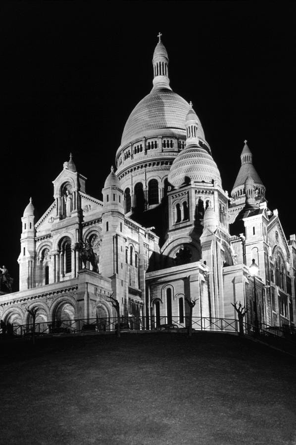 Black Photograph - Bw France Paris The Sacre Coeur Basilica 1970s by Issame Saidi