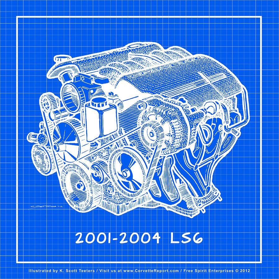 C5 2001 2004 Ls6 Z06 Corvette Engine Blueprint Drawing By K Scott