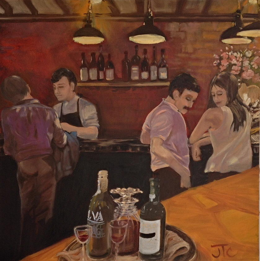 Cafe Painting - Cafe by Julie Todd-Cundiff