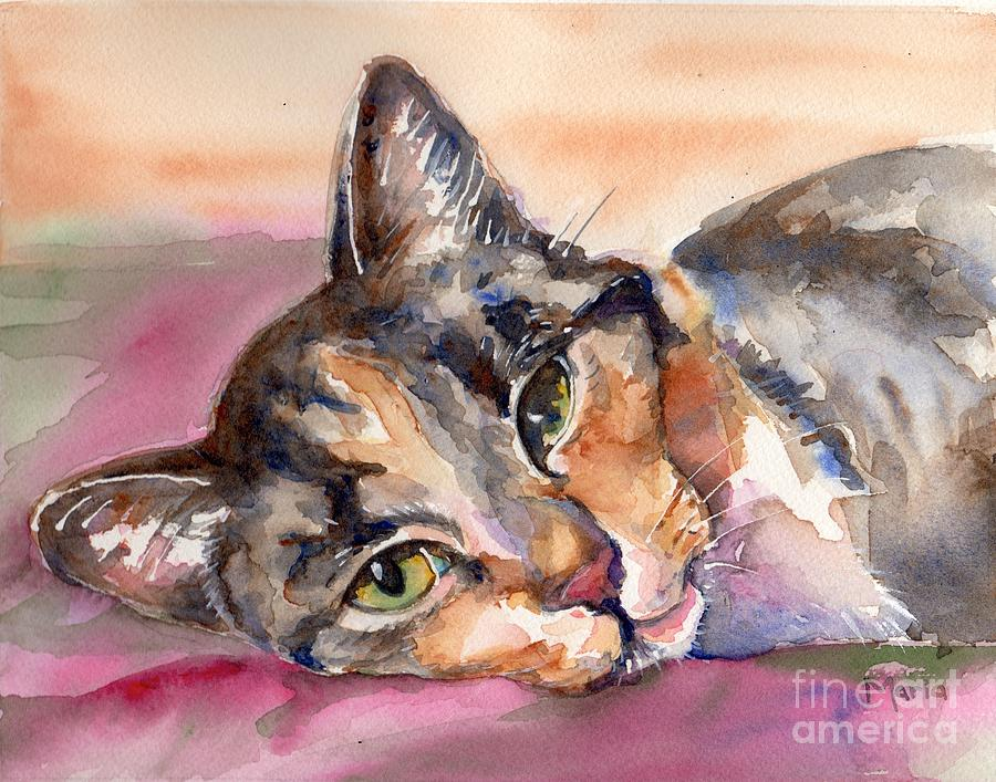Cat Painting - Calico Kitty by Maria Reichert