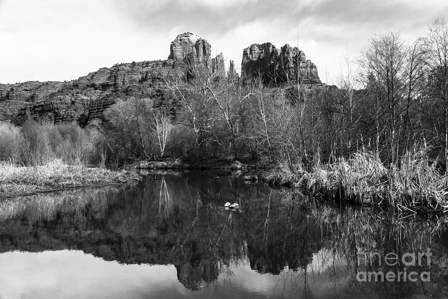 Black And White Photograph - Cathedral Rock Reflections Landscape by Darcy Michaelchuk