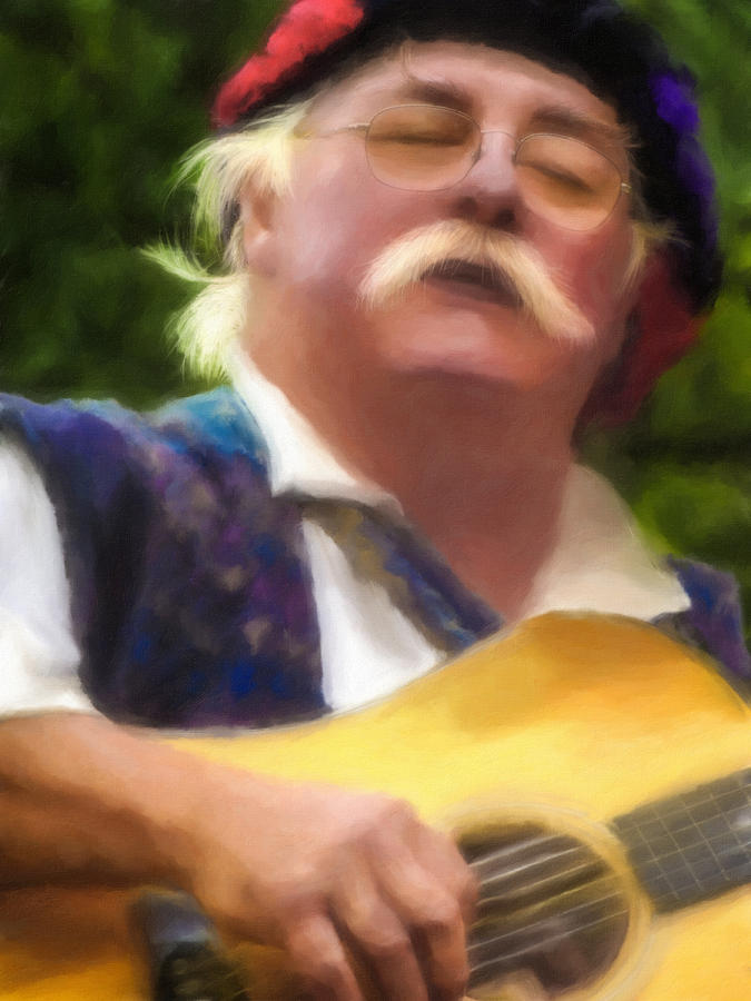 Digital Painting Digital Art - Celtic Folk Singer by Jill Balsam