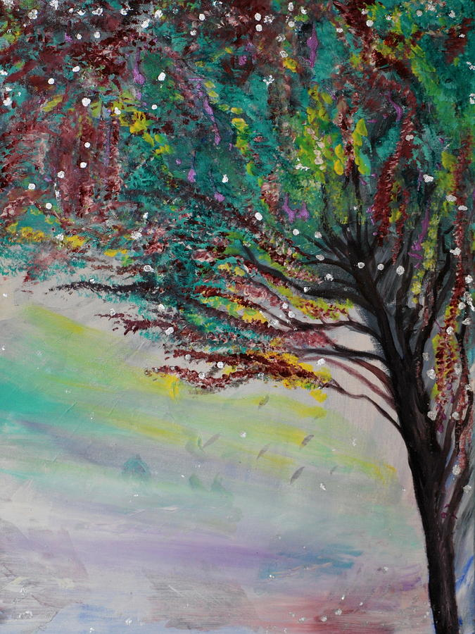 Trees Painting - Change Of Falls Sparkle by Tifanee  Petaja