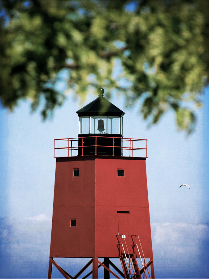 Lighthouse Photograph - Charlevoix South Pier Lighthouse by Christy Woods