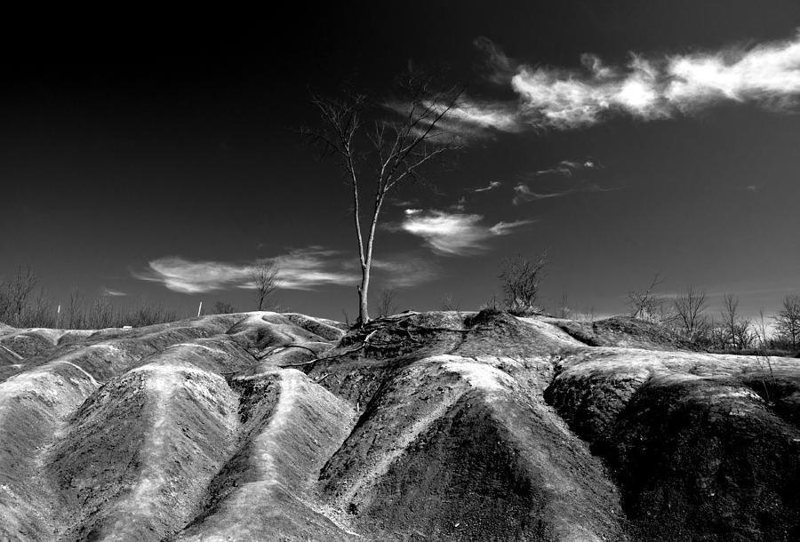 Black And White Photograph - Cheltenham Badlands by Cale Best