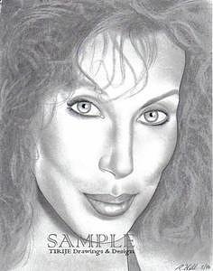 Portraits Drawing - Cher by Rick Hill