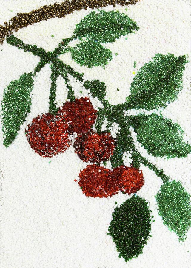 Fruits Glass Art - Cherry by Natalya A